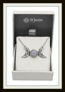 TRIPLE MOON MOONSTONE & KNOT PEWTER NECKLACE ~ FROM ST. JUSTIN ~ FREE P&P