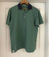Peter Millar Mens Size S Striped Polo Shirt Short Sleeve Purple Green Cotton