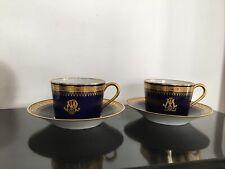 Duo de tasses sous-tasses Bleu En porcelaine De Limoges décor Service À Thé