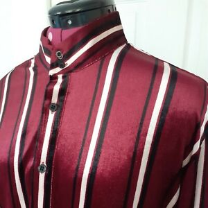 Mens Pendlebury Velvet Striped Retro Kaftan Shirt by Phix XL