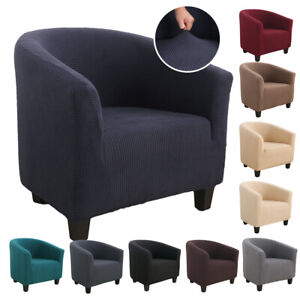 Solid Elastic Stretch Tub Chair Cover Armchair Single Seat Sofa Slipcover Decor