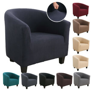 Smooth Elastic Stretch Tub Chair Cover Armchair Single Seat Sofa Slipcover Decor