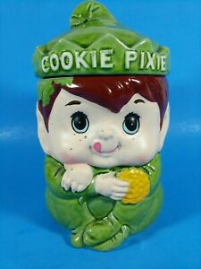 Rare Vintage Green Pixie Elf Head Cookie Jar with Lid - E-9177, 1950s? See paint