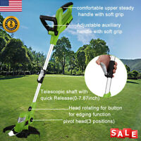 18V Electric Gas Free Cordless String Trimmer Edger Grass Weed Cutter Eater 10""