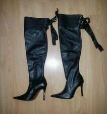Black PU Leather Over Knee Boots Heels Size US 10