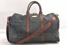 Authentic POLO Ralph Lauren Vintage Green Check Leather Travel Boston Bag 95638