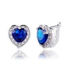 Romantic Stud Earrings Real White Gold Filled Heart Cubic Zircon Women Girl