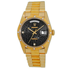 ROLEX 18K Yellow Gold 36mm Bark Diamond Day Date President 18248 Box MINTY