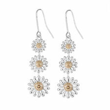 White and Yellow Gold Daisy Drop Earrings in Gift Box