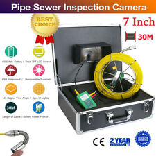 """30M 98FT IP68 Waterproof Drain Pipe Sewer Inspection Camera 7"""" LCD 1000 TVL Cam"""