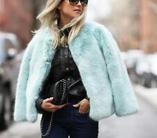 New ZARA TRF Sold-Out Duck Blue Faux Fur Short Crop Coat Jacket M Fits S/AU8