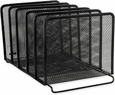 Desk Organizer Stacking Sorter Storage File Folder Letter Rack Mesh Tray Black