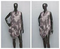LAUREN VIDAL Blouse Asymmetric Tunic Grey Melange Draped Quirky L