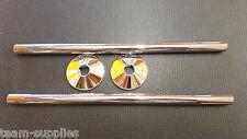 Chrome Laiton Tuyau et couvre colliers pour porte-serviettes Radiateur Valves 300 mm Paire