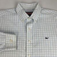 Vineyard Vines Button Down Whale Shirt Men's Large Blue Checks Long Sleeve Logo