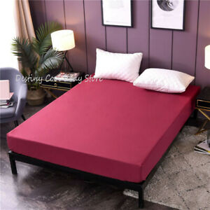 Waterproof Cotton Deep Fitted Sheet TWIN FULL QUEEN KING US Size 35CM Non-slip
