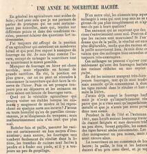 """AGRICULTURE NOURRITURE HACHEE """" DEPULPEUR & HACHE-PAILLE DE M. BODIN """" ADP 1862"""
