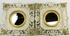 """EUROMARCHI Pair of Carved Italian MIRROR White Gold Vintage Made in Italy 14.25"""""""