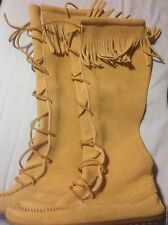 Minnetonka Front Lace Knee Hi Boots Tan Suede Fringe Hard Size 7 ~ sole 10""