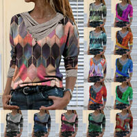 Retro Women Tie-dye Printed Embroidery Collar Long Sleeve Pullover Blouse Tops