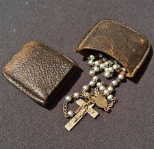 Chapelet ancien en perle de métal ( argent ? ) croix- 33cm 7.3gr - étuis en cuir