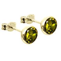 Paar Ohrstecker Kelch Zirkonia grün 6,7mm 333er Gelbgold Damen Herren 7725