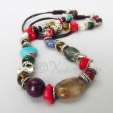 Bohemian Gemstone Necklace With Turquoise, Red Coral, Green Serpentine, Lapis