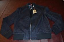 NWT ED Women's  Denim Jean Blue Jeans Bomber Jacket  Zip Front LARGE 100% Cotton