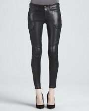 $1095 J BRAND HOULIHAN LEATHER CARGO SKINNY PANTS NOIR BLACK 27 NEW SOLD OUT NWT