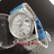 36mm Parnis white dial coin bezel sapphire glass 21 jewels automatic Men's Watch