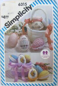 Vintage Simplicity 6315 Decorated Easter Eggs and Basket Cross Stitch 1983 Uncut
