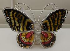 BUTTERFLY*TEA LIGHT with CANDLE *GLASS ORNAMENT ** METAL**NEW*DESIGN B