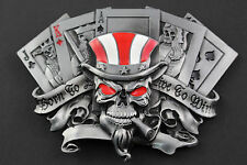 SKULL JOKER PLAYING CARDS KING QUEEN GAMBLING BELT BUCKLE METAL ACE OF SPADES