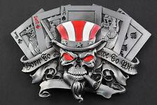 SKULL JOKER PLAYING CARDS KING QUEEN GAMBLING BELT BUCKLE METAL ACE OF SPADES