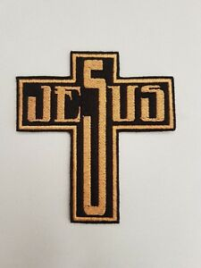 Personalised Jesus Cross Embroidered Patch Badge Iron on or sew on