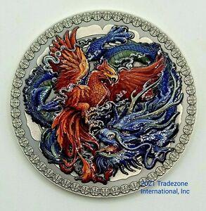 Ghana 2021 - Oriental Culture - Phoenix and Dragon - Silver Coin