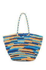 Roxy Butternut Stripe Straw Beach Tote Purse Bag Large Braided Handles NWT
