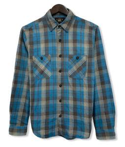 RRL Ralph Lauren Men's Sz Small Turquoise/Brown Plaid Flannel Work Button Shirt