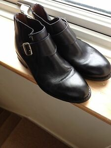 """Mens black leather Ossie """"Chelsea""""boots Buckle UK 9"""