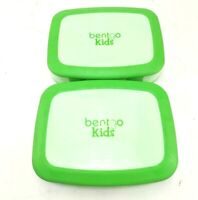 Bentgo Kids Lunch Boxes 2 Tone Green Lot Of 2 Clasp Closure 5 Compartments Used