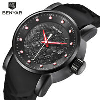 Pilot BENYAR Men Dragon Quartz Date Army Sport Wristwatch 3ATM Waterproof Gift