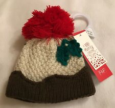 Baby-Navidad Pudín Hat-Large Bobble - 0-3 meses-Nuevo