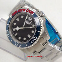 40mm bliger sterile black dial blue ceramic bezel sapphire automatic mens watch