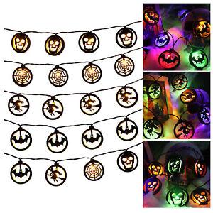 2.5m Halloween Colorful Light String Bat Skull 20-LED Atmosphere Light Strings