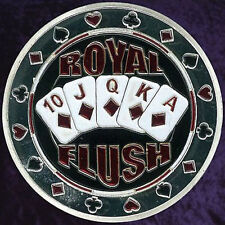 """Card Guard Silver """"Royal Flush"""" - Poker Texas Hold'em - Metallo - Lucky Coin"""