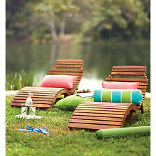 2 Piece Slat Folding Patio Chaise Lounge Set Outdoor Home Garden Furniture