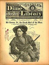 dime novel; BEADLE'S NY DIME LIBRARY #3: Kit Carson Jr, The Crack Shot of the We