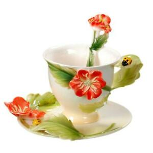Porcelain 3PCS 7OZ Relief Ladybug Poppy Coffee Set Cup Saucer Spoon Daily Used
