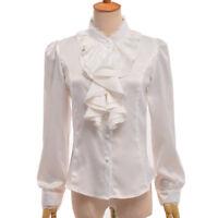 Women Victorian Chiffon Lace Flounce Long Sleeve Blouse Button Down Ruffle Shirt