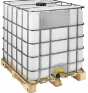 1000 LITRE RE BOTTLED IBC ON TIMBER PALLET IN CAGE FILLING GOODS LIQUIDS WATER